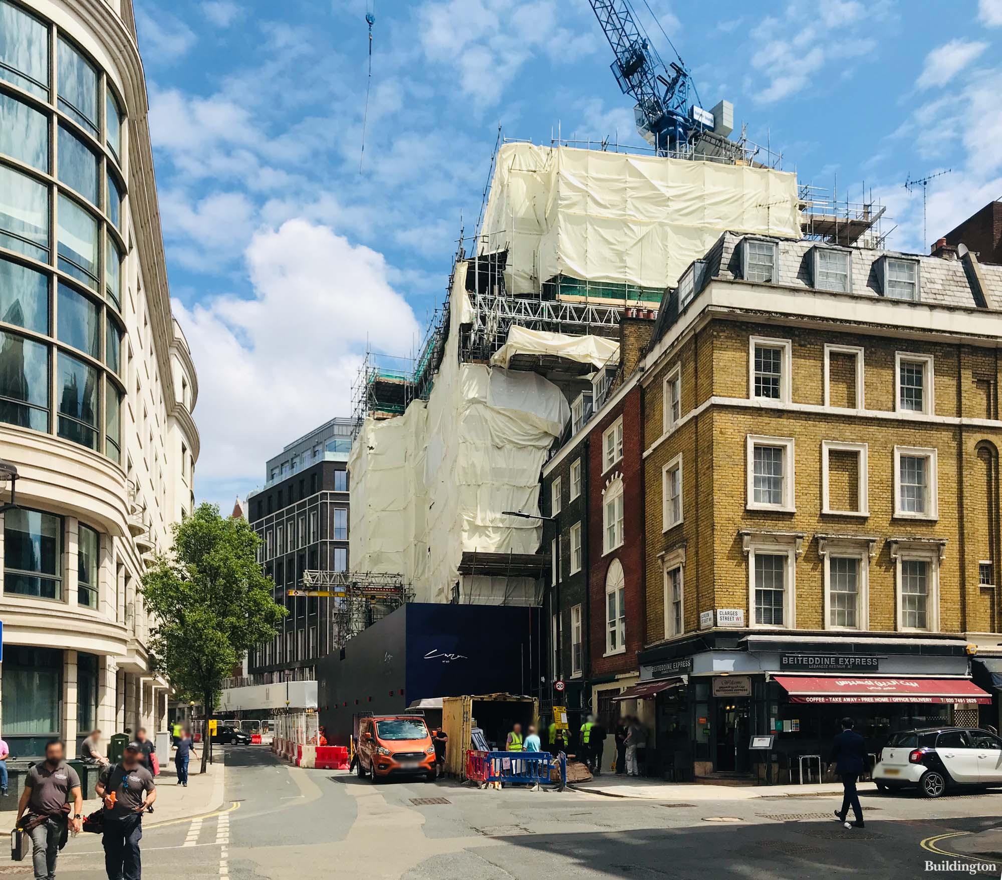 60 Curzon development under construction in Mayfair, London W1.