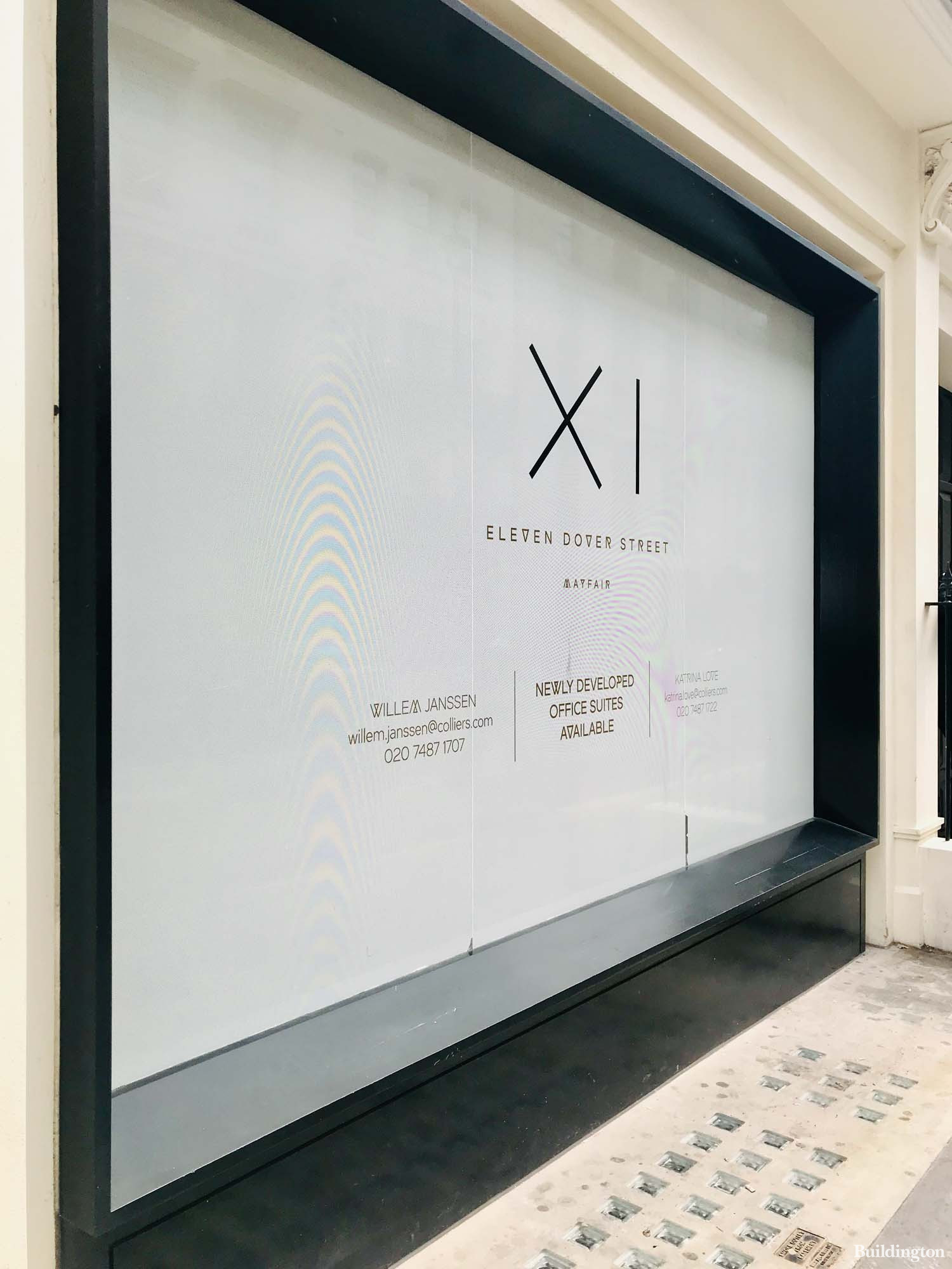 XI Dover Street - Eleven Dover Street. New developed office suites available, advertised by Colliers.