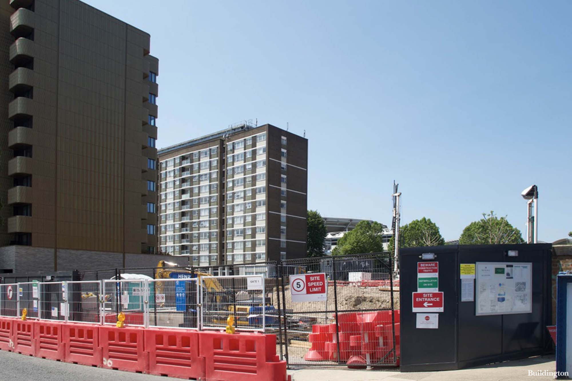 View to the Lodge Road development site. Building number one will be here in front and building number two, One St John's Wood, will be facing the Lord's Cricket Ground on St John's Wood Road..