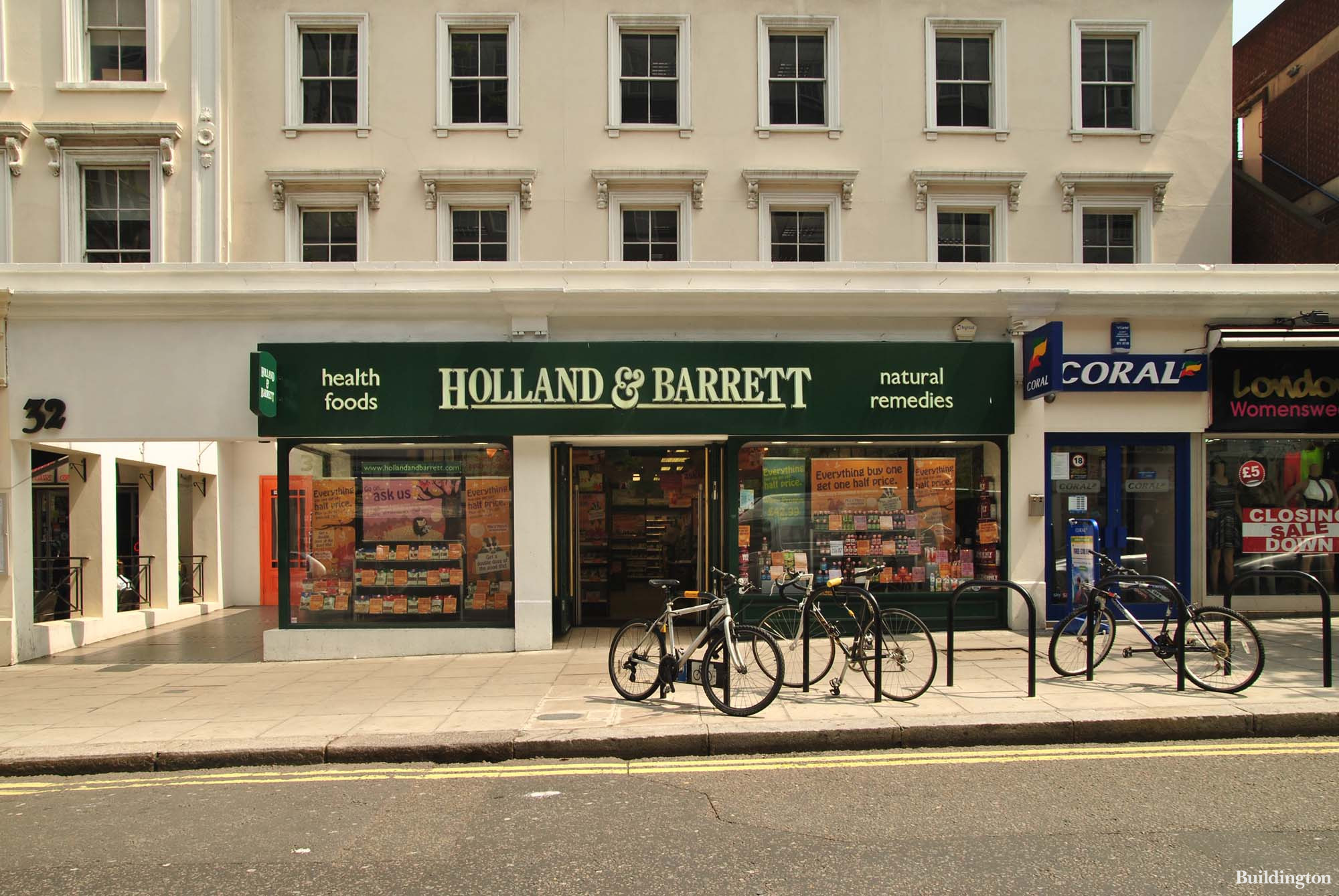 Holland and Barrett store at 32 Queensway in Bayswater, London W2.