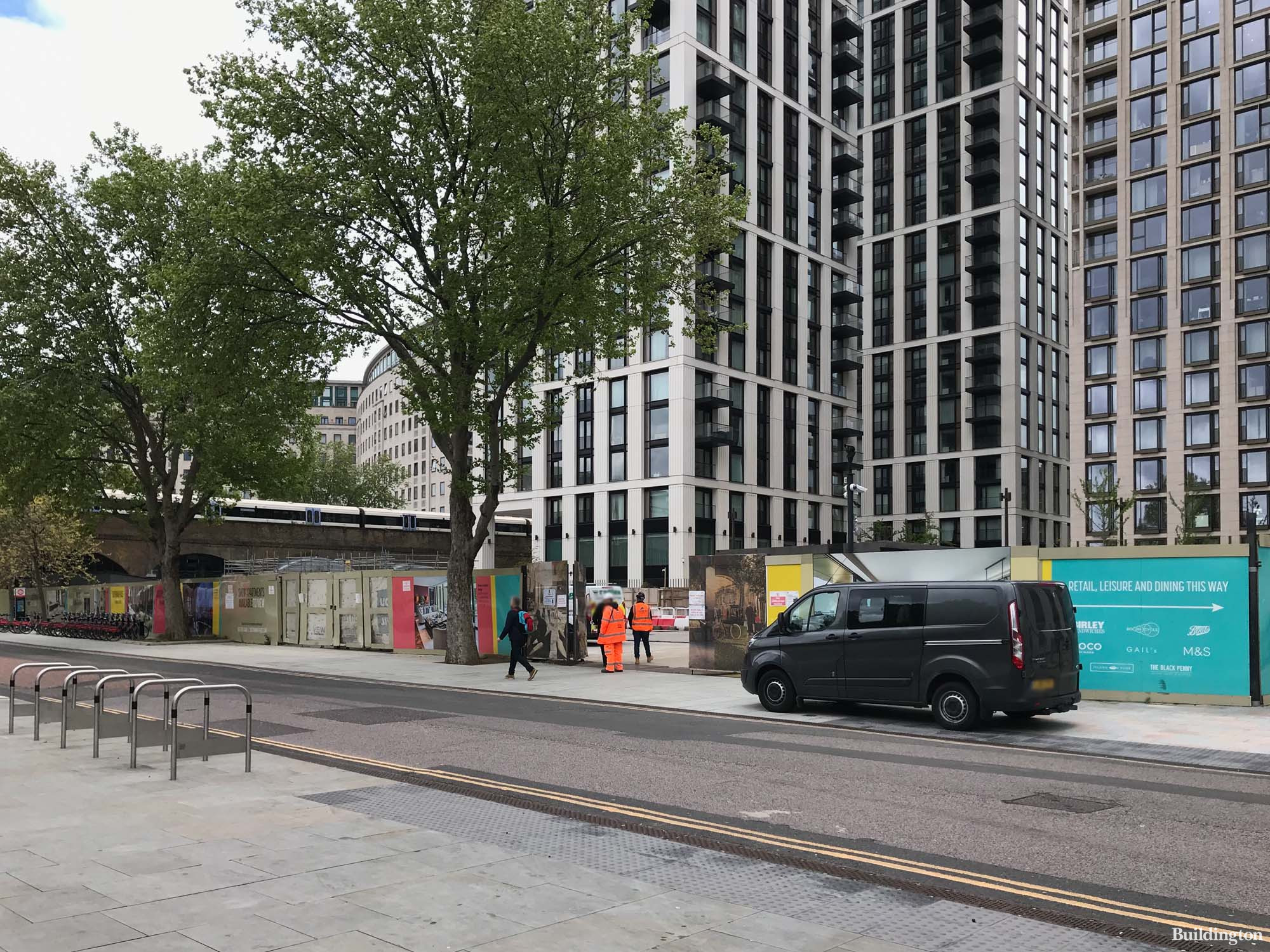 The Belvedere development site on Belvedere Road in May 2021. Other Southbank Place buildings in the background are Thirty Casson Square, One and Eight Casson Square.