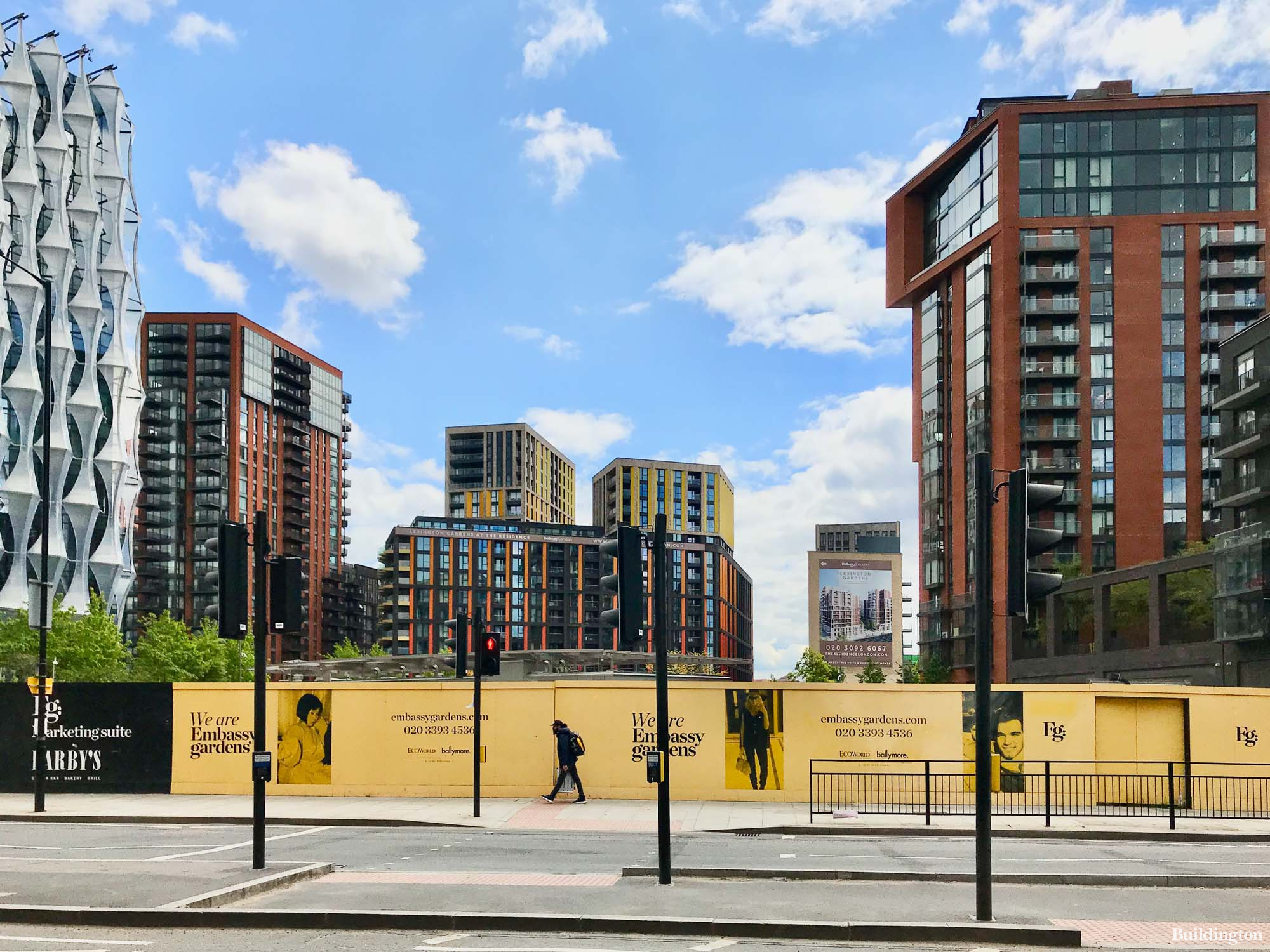 Dominvs Group is planning to build a hotel on this site adjacent to the new US Embassy building on Nine Elms Lane in London SW11. The Residence by Bellway on the background, Ambassador Building at Embassy Gardens by Ballymore to the right.