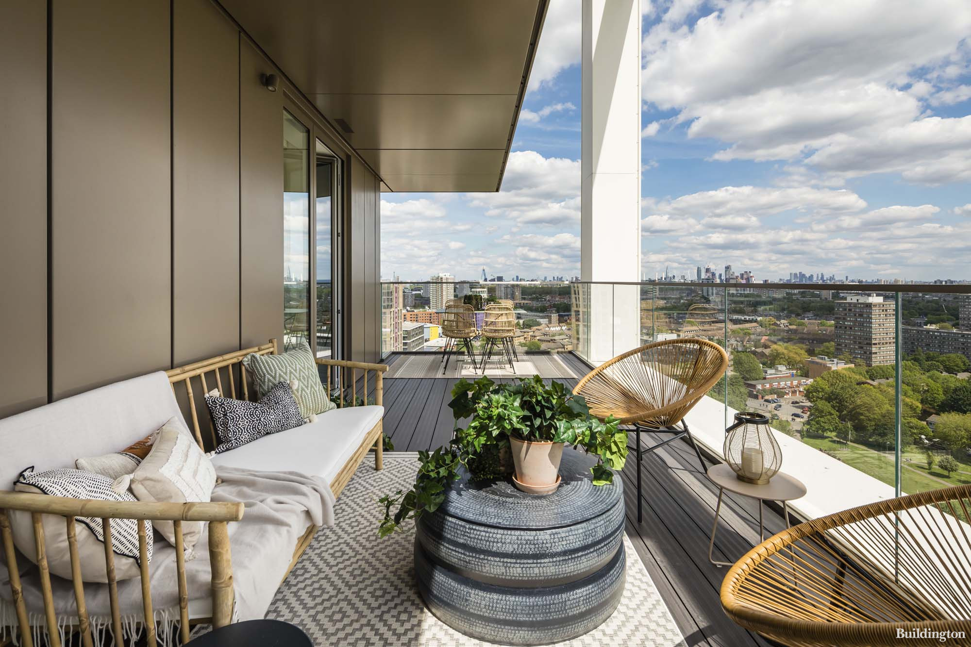 Al fresco dining area on the terrace, perfect for entertaining friends. The show home at The Terrace Collection in Coda Avanton Battersea designed by Gordon Duff & Linton.