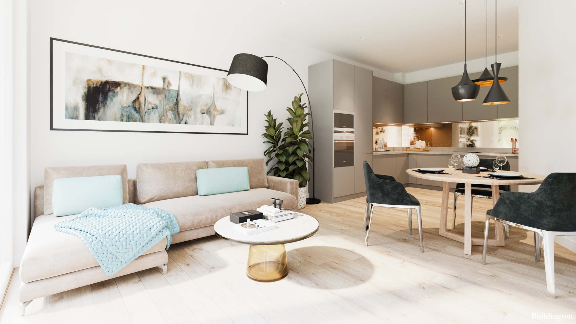 The living room at One Fox Lane development in Palmers Green, London N13.