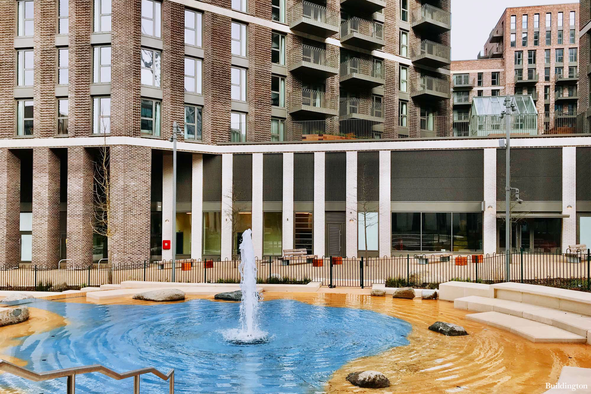 The pool and fountain at Canada Gardens development in Wembley Park.