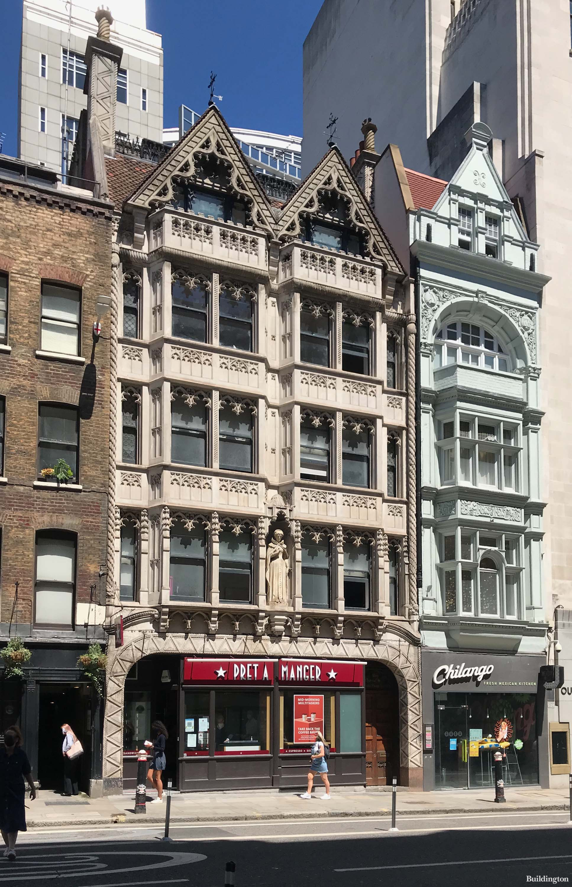 The Grade II listed Mary Queen of Scots House with Pret A Manger on the ground level at No. 143 Fleet Street in the City of London EC4.
