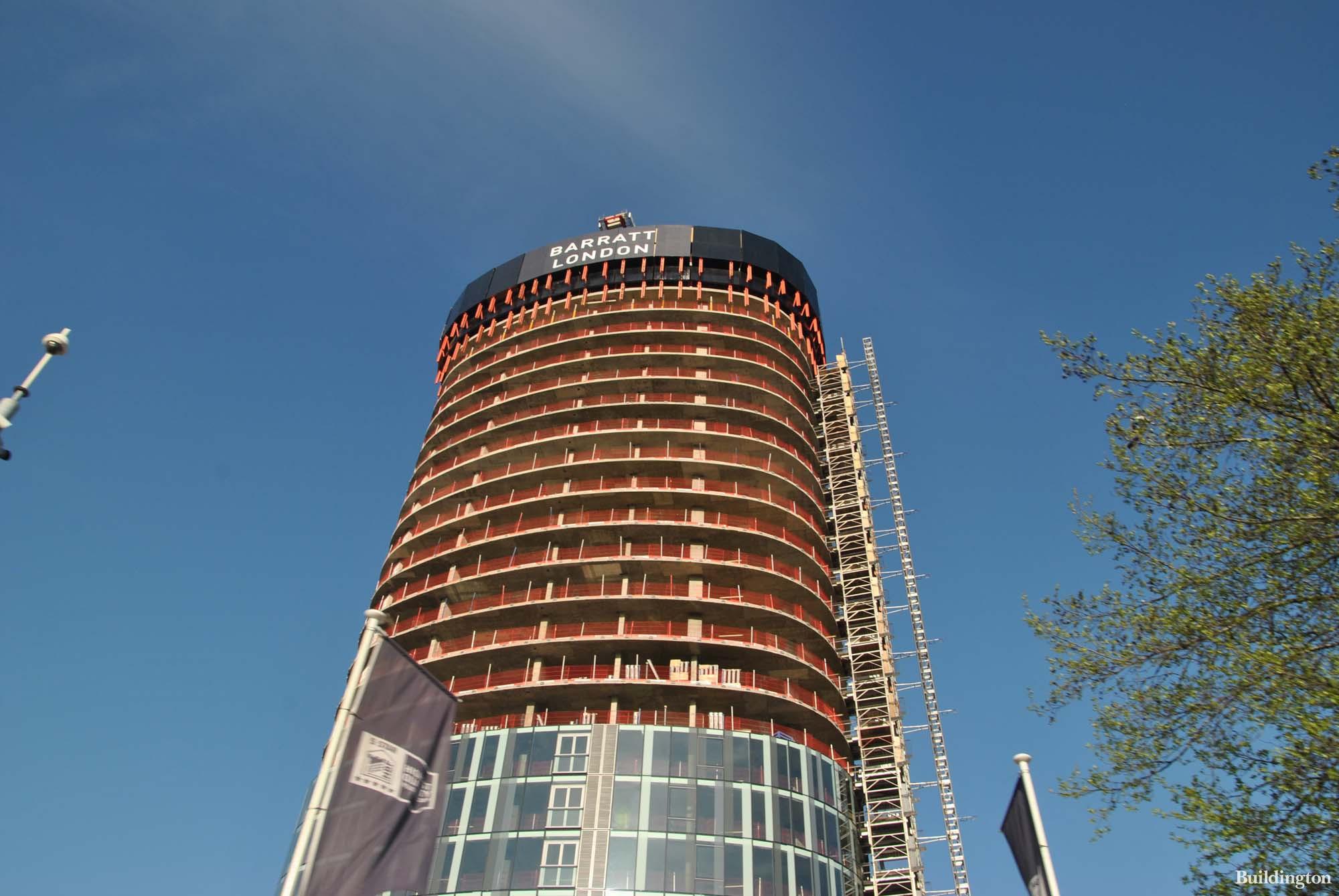 Kew Eye tower under construction by Barratt London in Great West Quarter development in Brentford, Greater London TW8