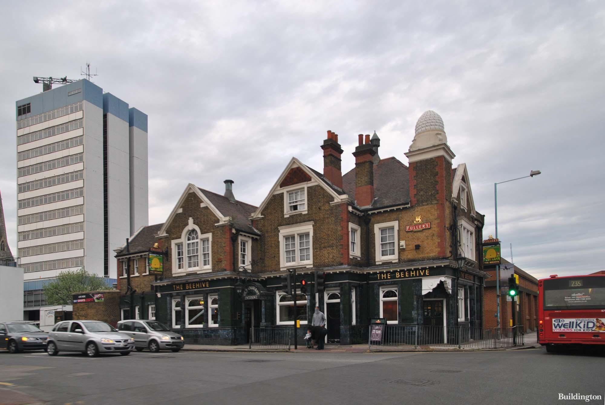 The Beehive pub building in Brentford, London TW8.