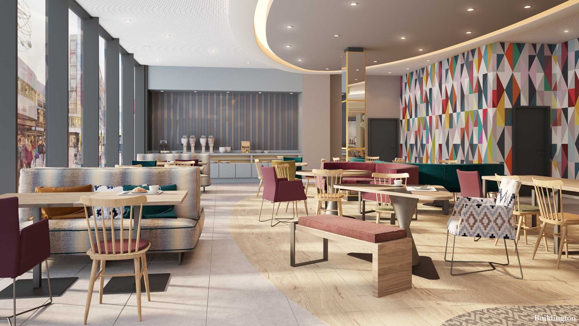 Hotel interior in the new 288-bedroom London hotel developed by Dominvs (CGI). The new Hampton by Hilton will open in July 2023.