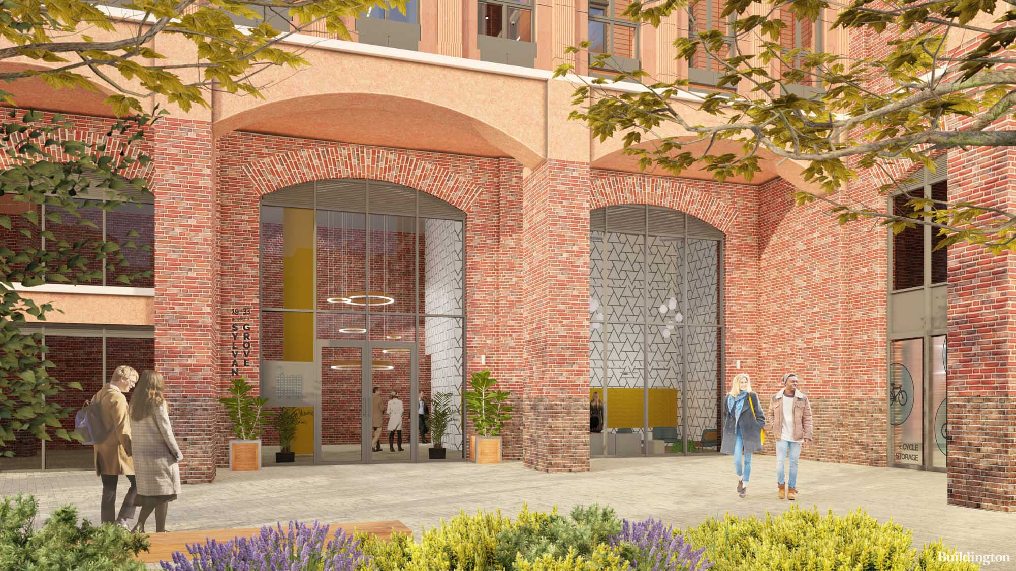 Reception entrance and cycle storage at Sylvan Square development in Southwark, London SE15 (CGI).
