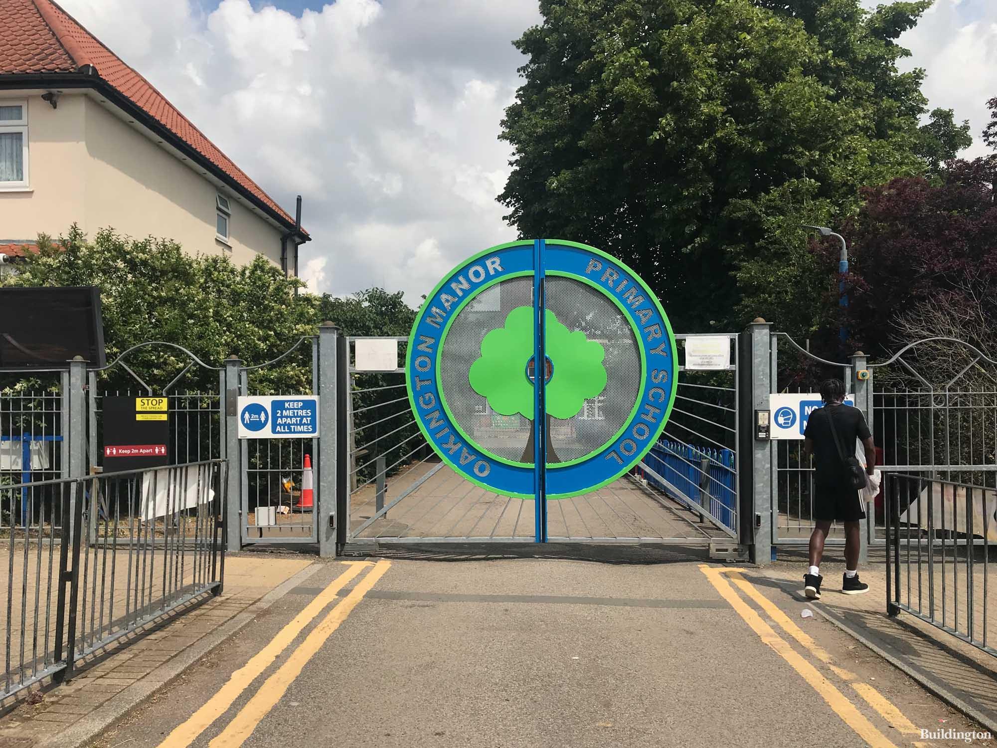 Oakington Manor Primary School gates on Oakington Manor Drive.