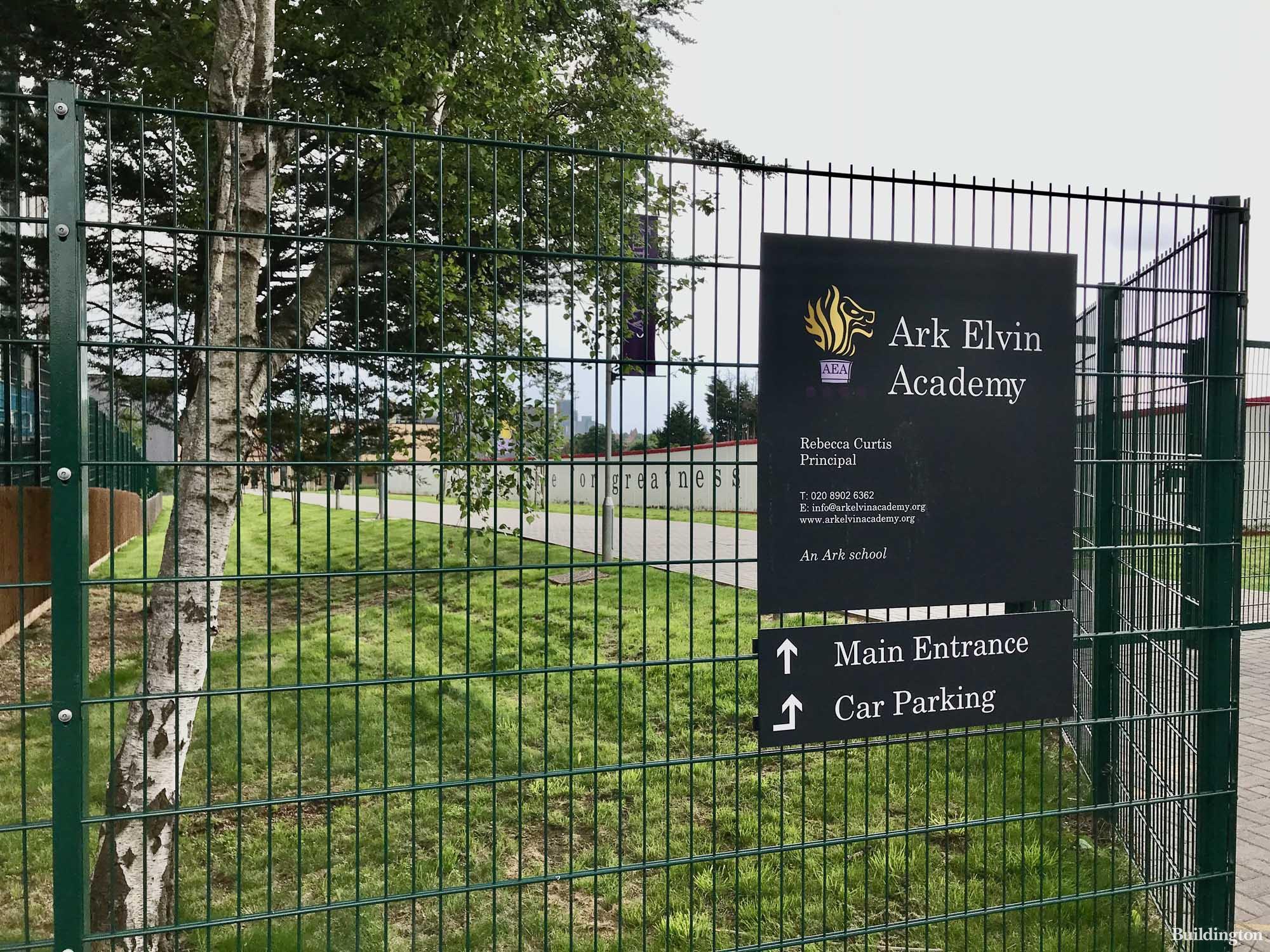 Ark Elvin Academy sign on Wembley High Street.