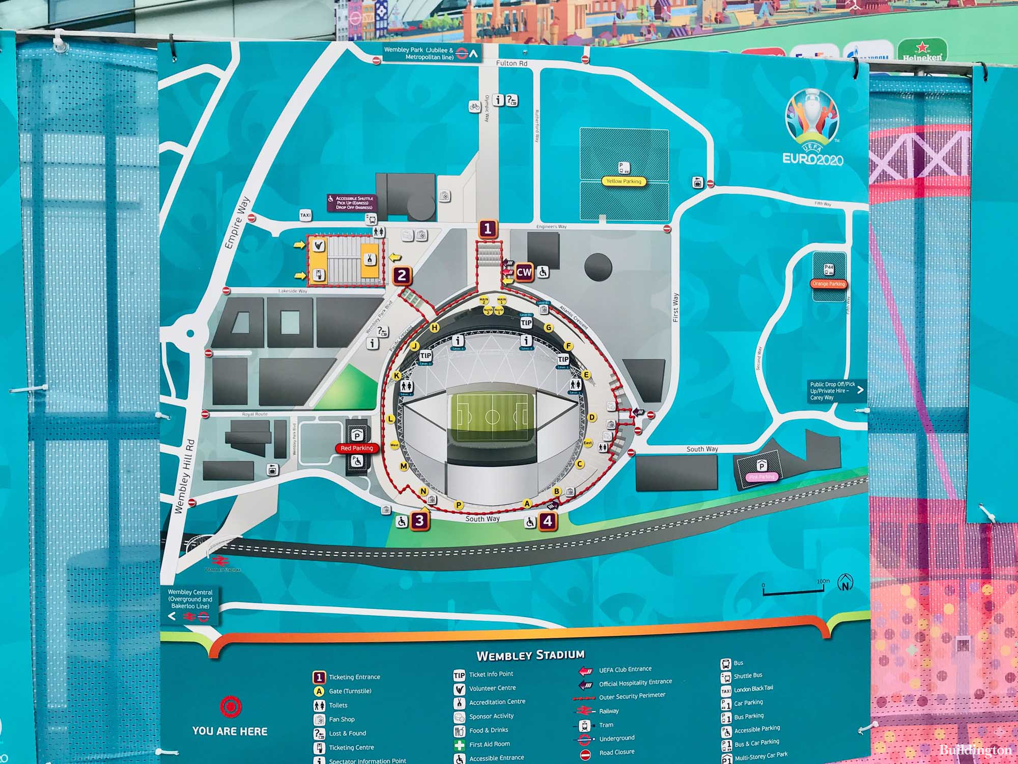 Wembley Sadium site plan on South Way at Entrance 3, next to the Red Car Park.
