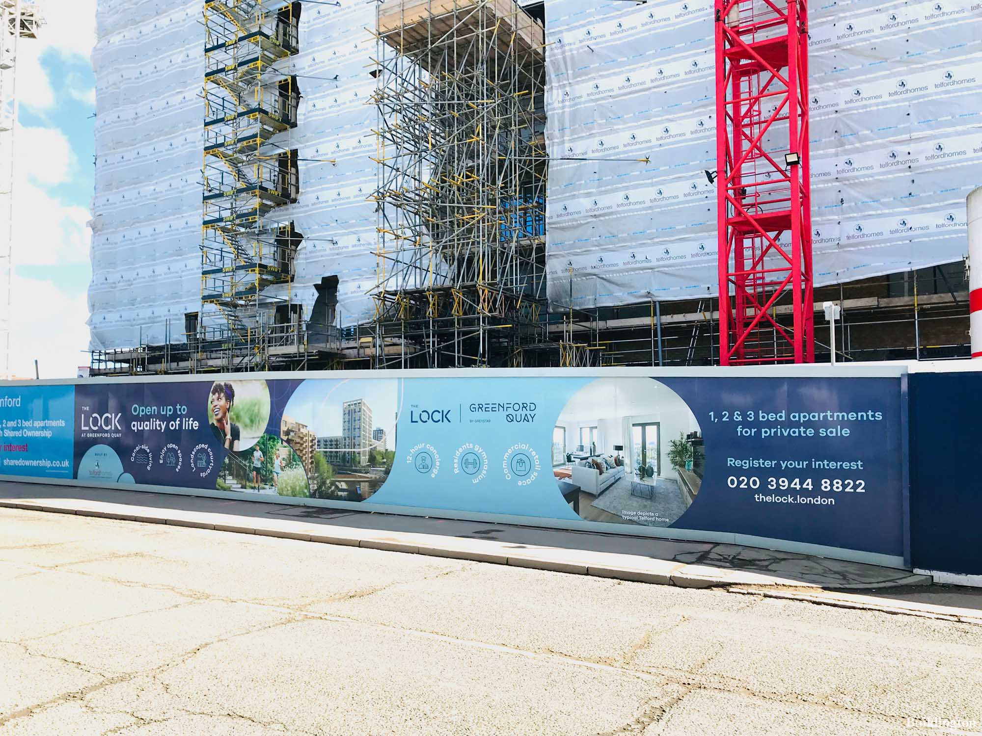 The Lock development hoarding on Oldfield Lane North in Greenford UB6.