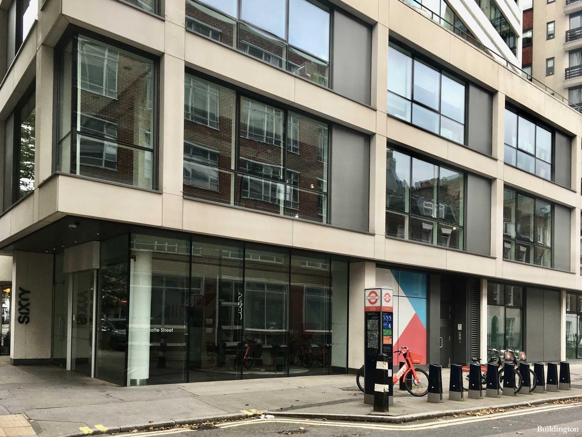 Before the refurbishment, in 2019 - 60 Fitzrovia Street office building in Fitzrovia, London W1.