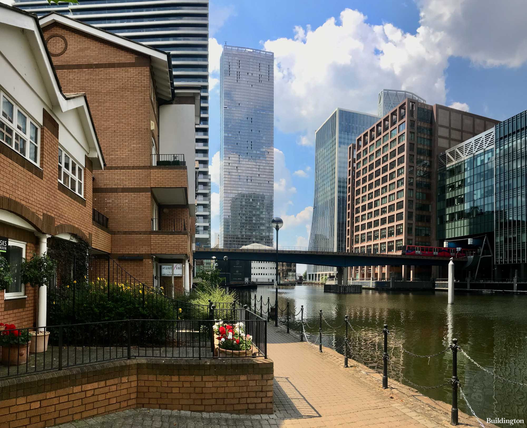 The Pinnacle apartment building from South Quay Walk.