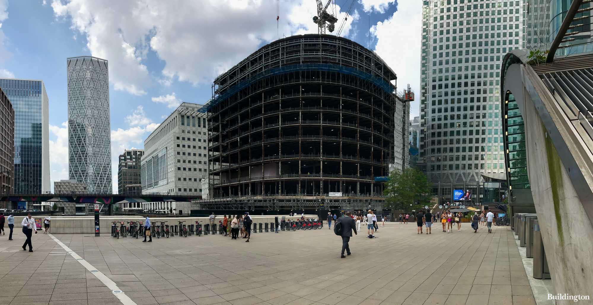 YY London under construction in Canary Wharf, London E14.