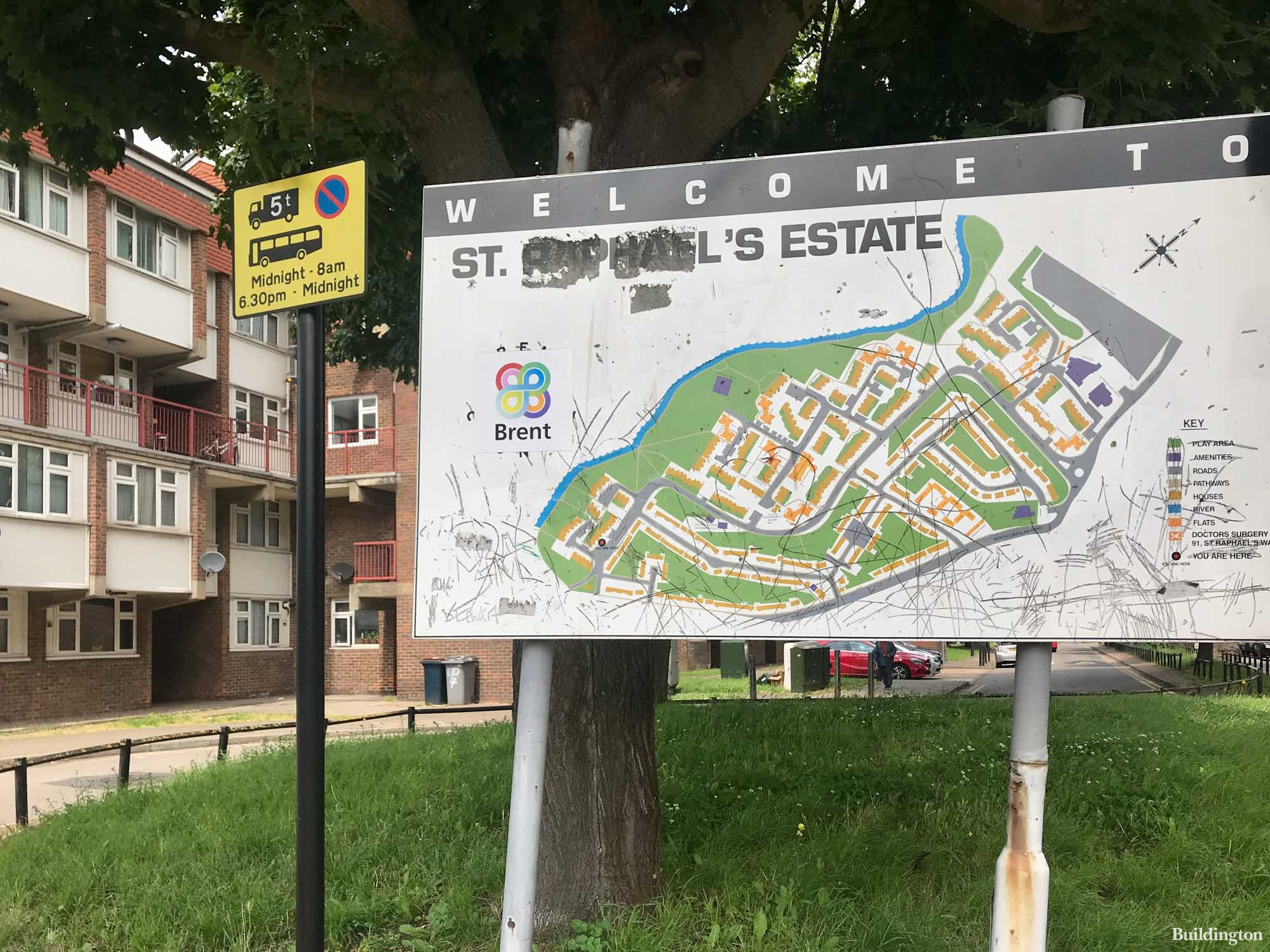 Welcome to St Raphael's Estate - site plan of the council estate in Brent.