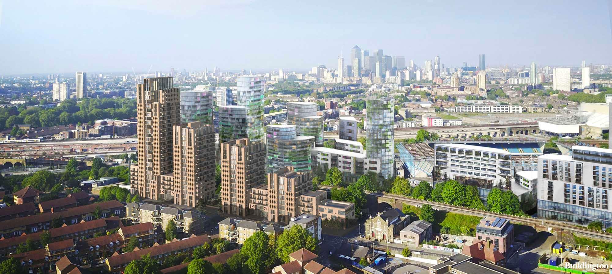 CGI Birds eye view of Bermondsey Reach development in Southwark.