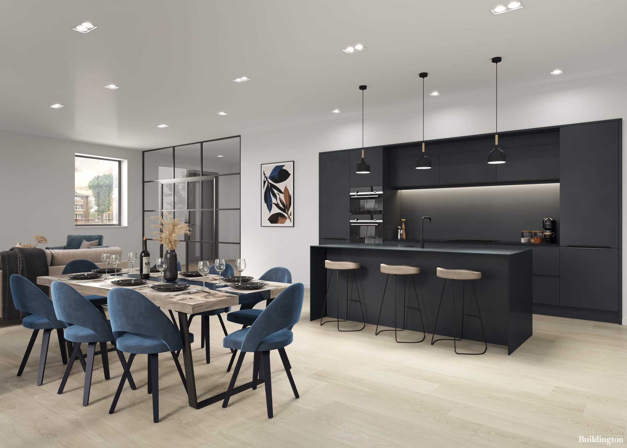 CGI of the open plan living room with kitchen at the Bastion House development. 2021 Goldrose Sharpe