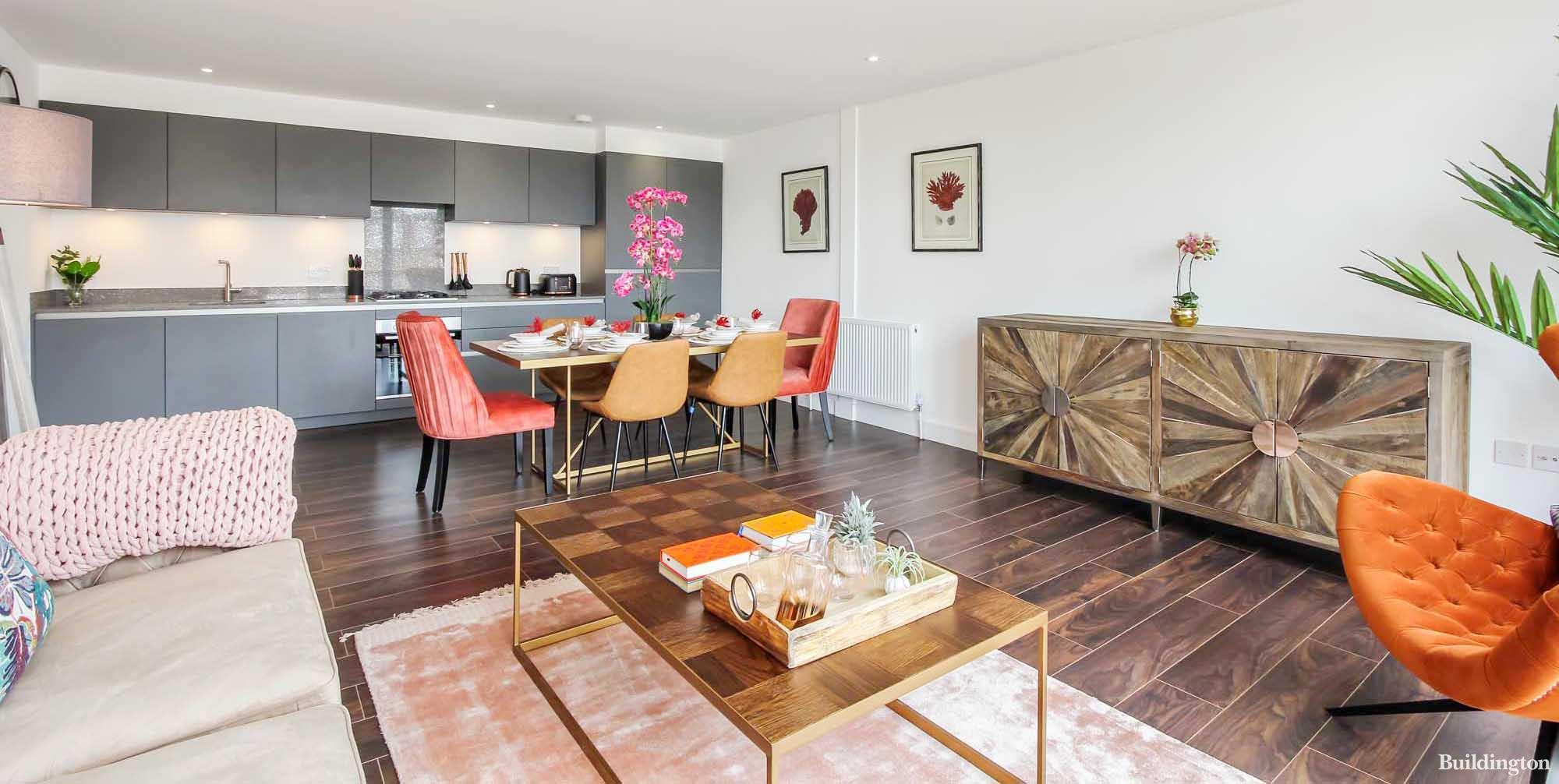 The open plan living and kitchen spaces in each apartment at Milli House are bright and spacious  with the furniture arranged to create the perfect entertaining space while maintaining a cosy feel for quieter nights in