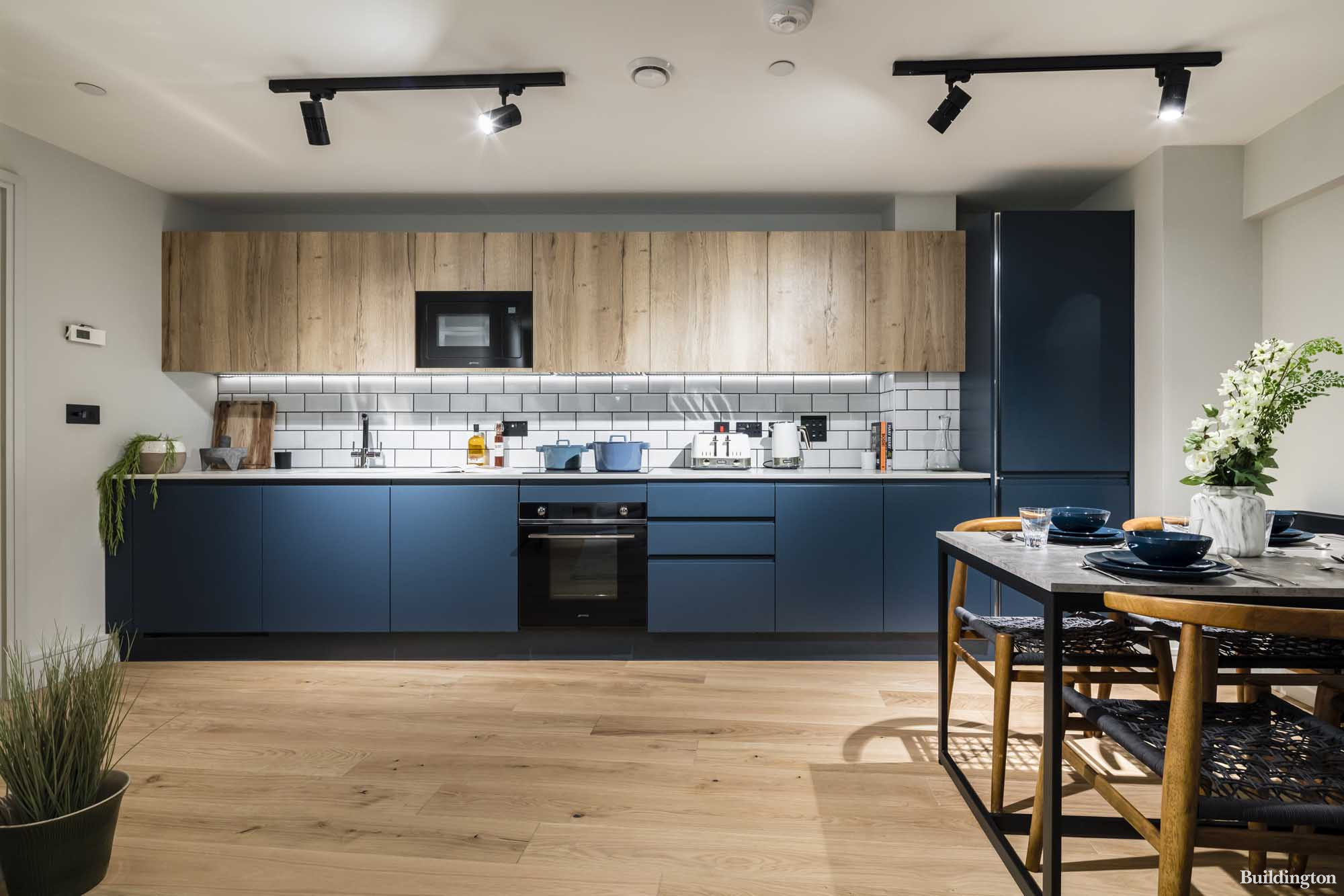 Fully fitted kitchen in one of the apartments at Newham's Yard development in Bermondsey, London SE1.