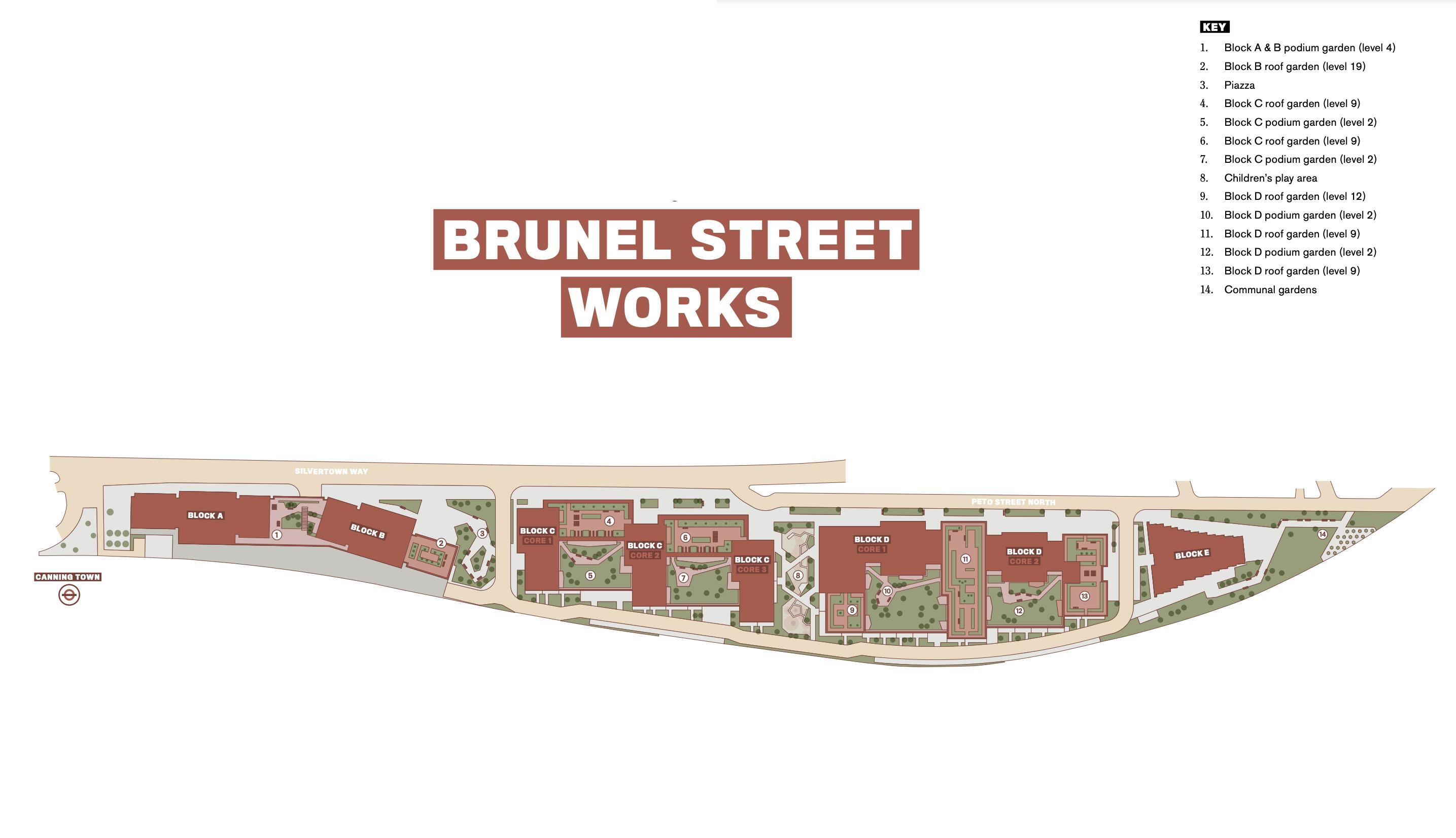 Brunel Street Works site plan in the development brochure at lindenhomes.co.uk.