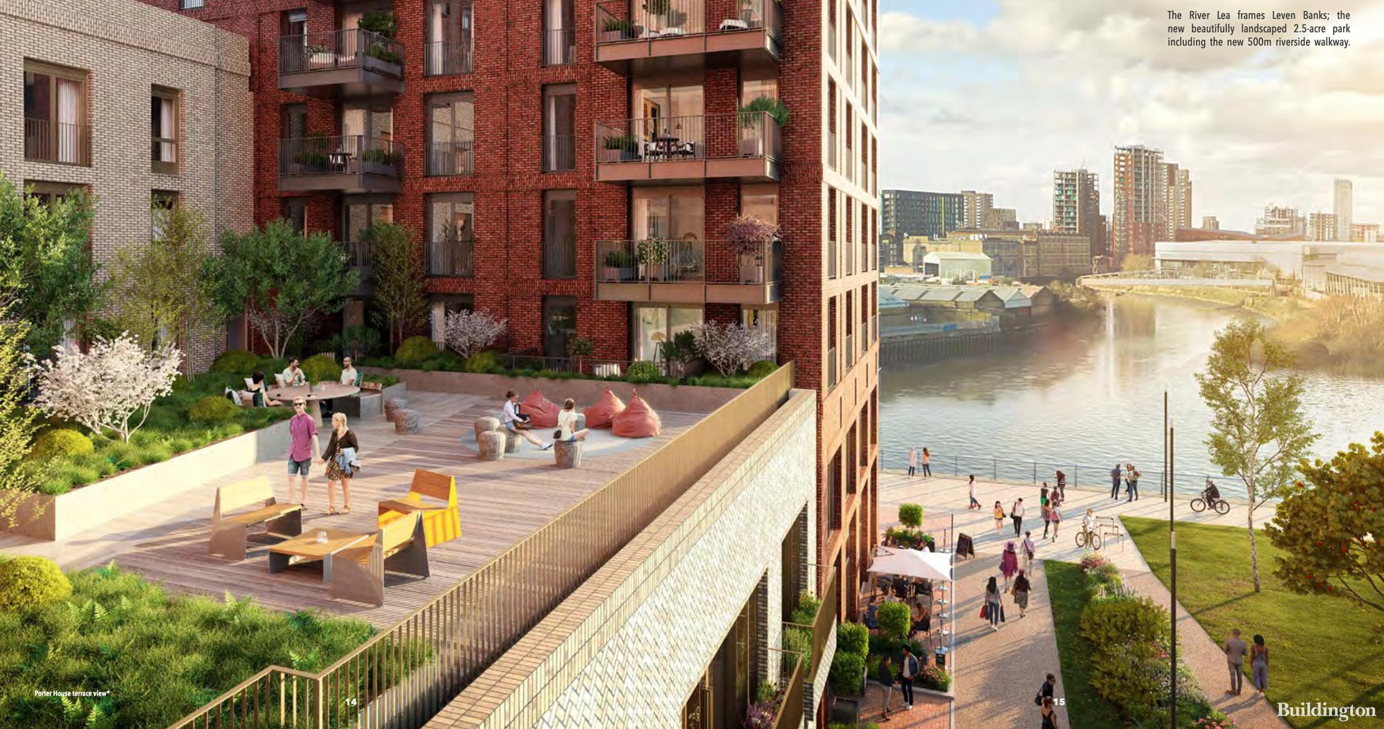 Screen capture from Poplar Riverside brochure. The River Lea frames Leven Banks - the new landscaped 2.5-acre park including the new 500m riverside walkway.