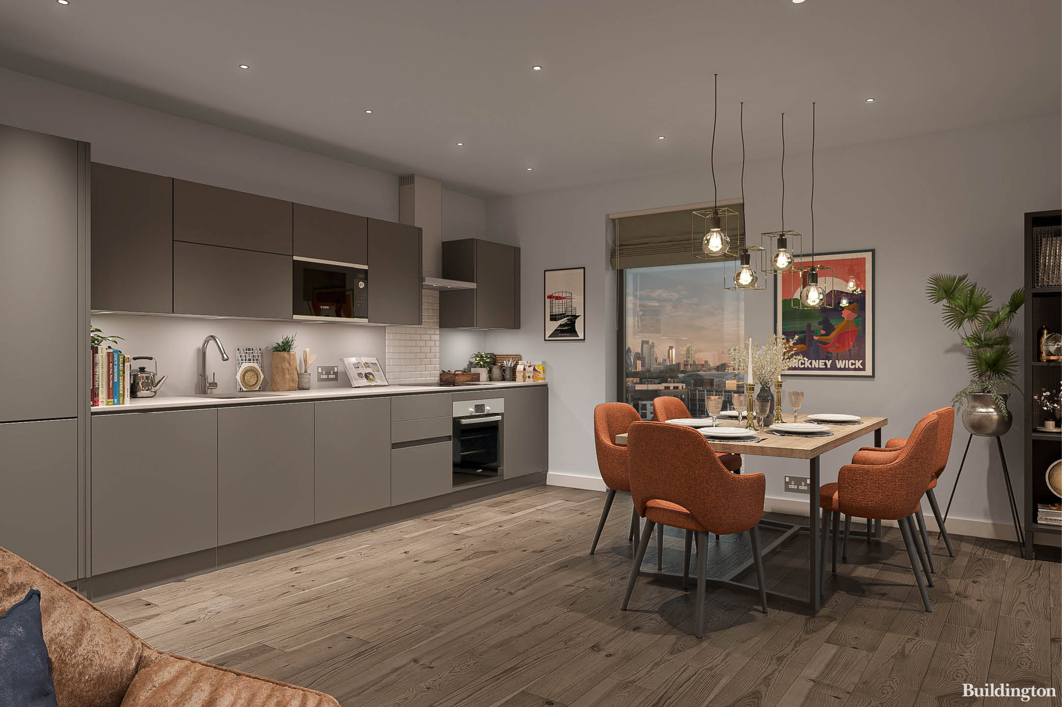 CGI of the kitchen/dining room opens up to the living room at Stone Studios development in Hackney Wick. Download the brochure at telfordhomes.london