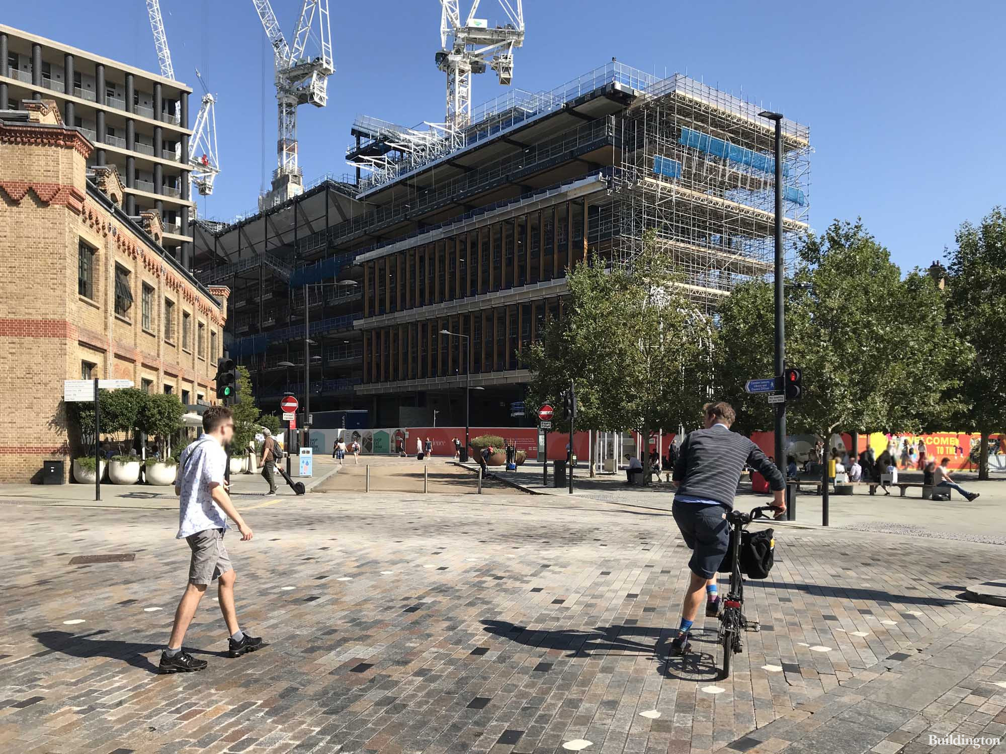 Google HQ London completion date is not far off (2022). View from Pancras Road to King's Boulevard in King's Cross.