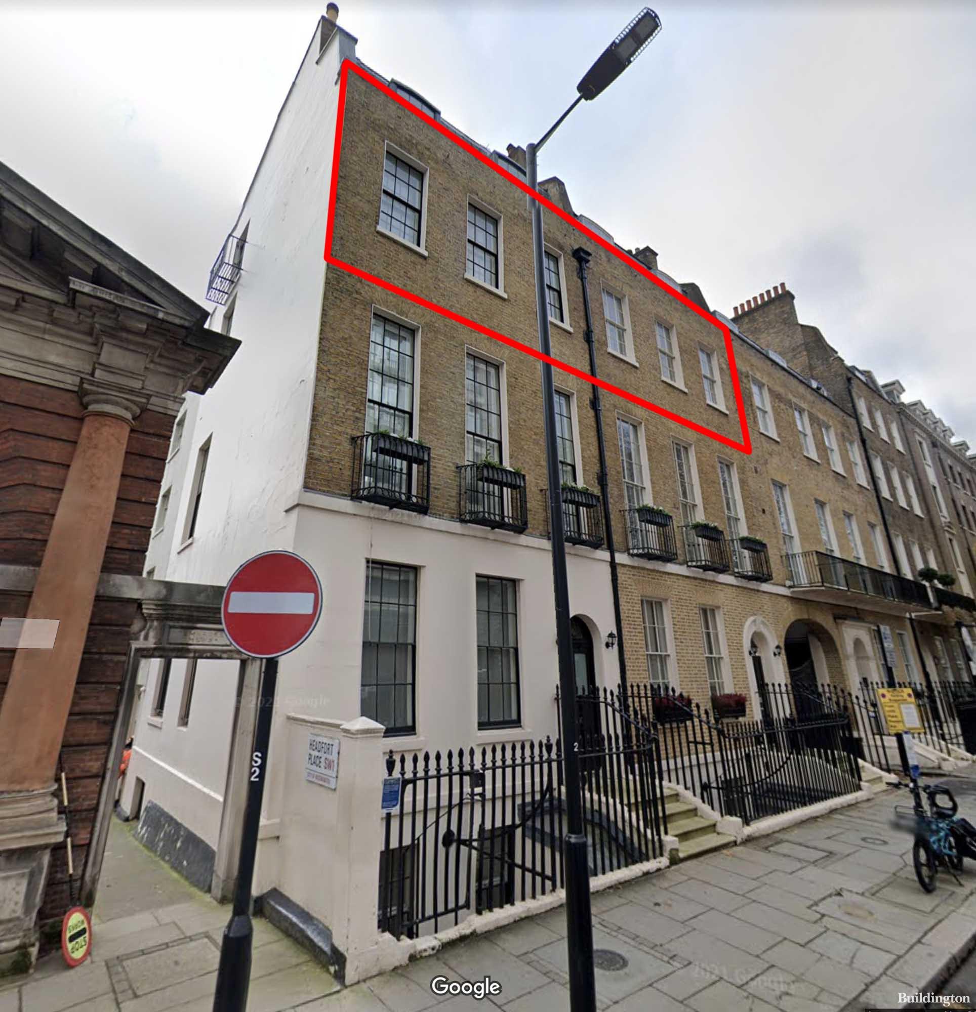 Halkin Street loft apartment is spanning two buildings No.1 & 2. in Belgravia, London SW1.