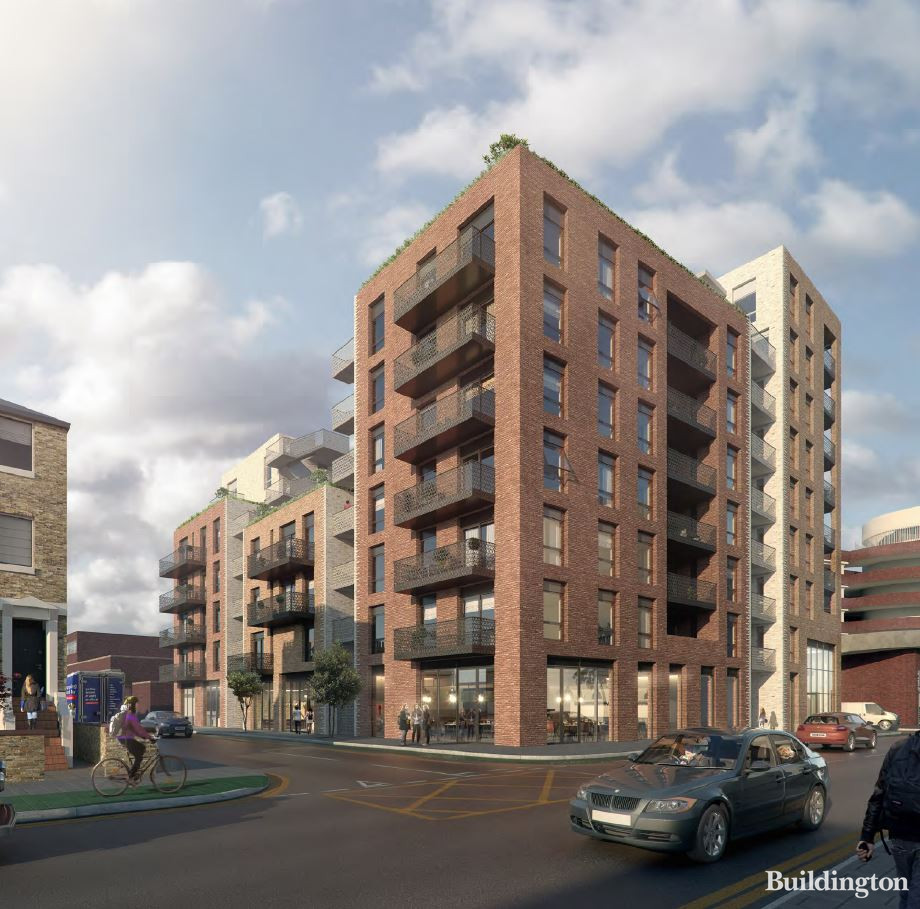 CGI of the new building on the corner of Caxton Road and Mayes Road designed by PRP Architects.