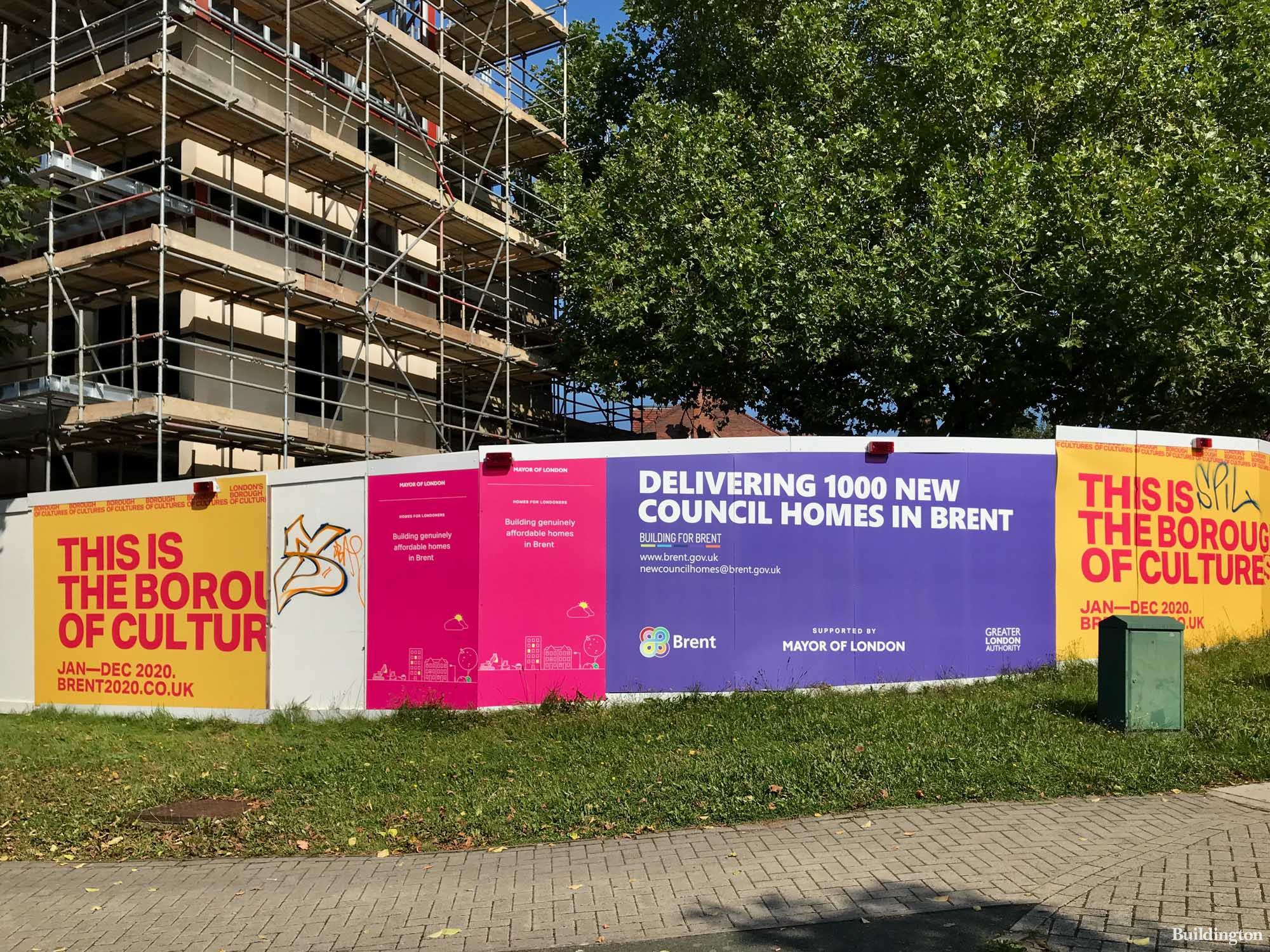 Corringham Road site - Delivering 1000 new homes in Brent. The council's messages on the hoarding.