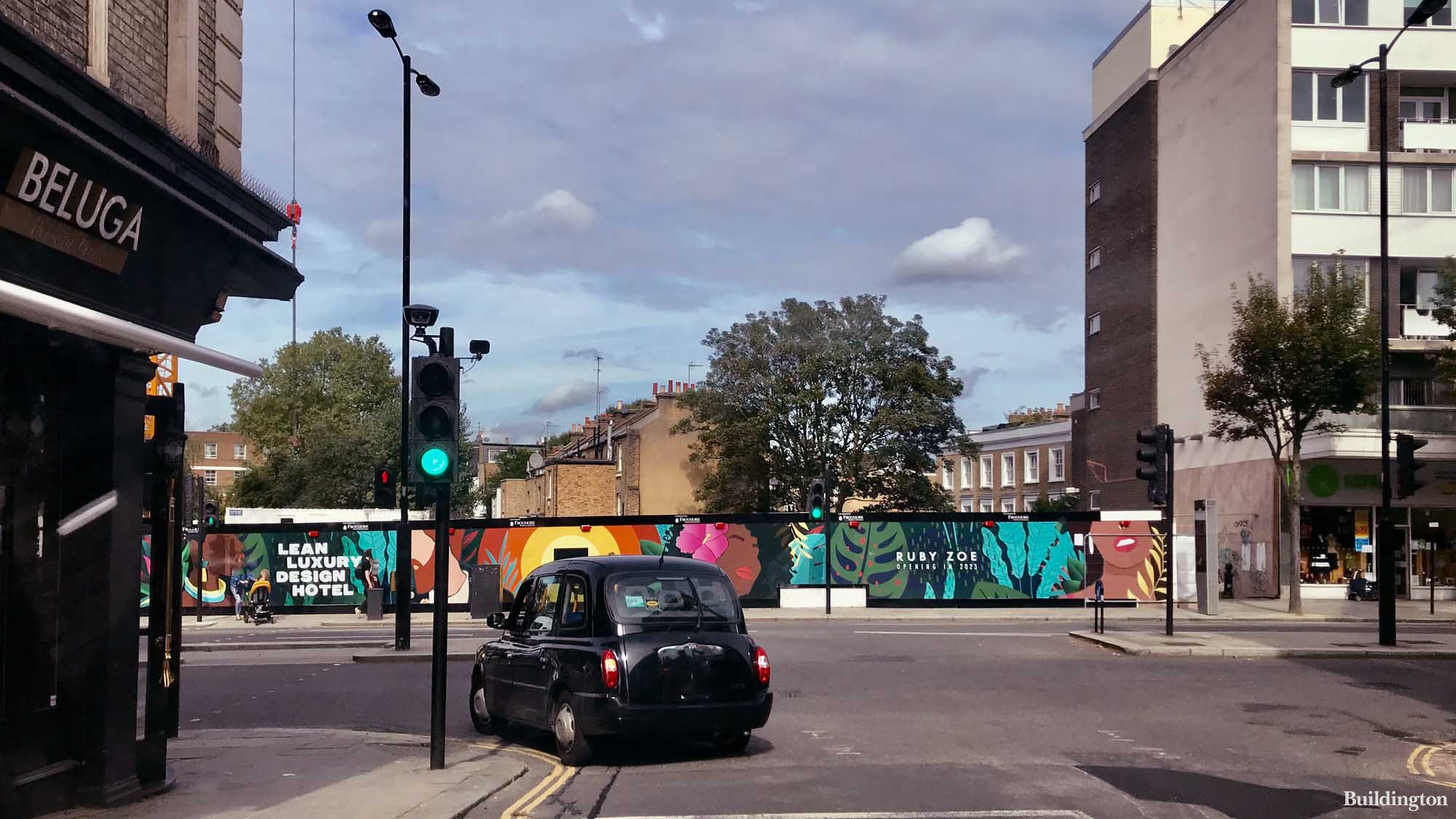 Hoarding on the Ruby Zoe London site in Notting Hill Gate. Coming soon - lean luxury design hotel.
