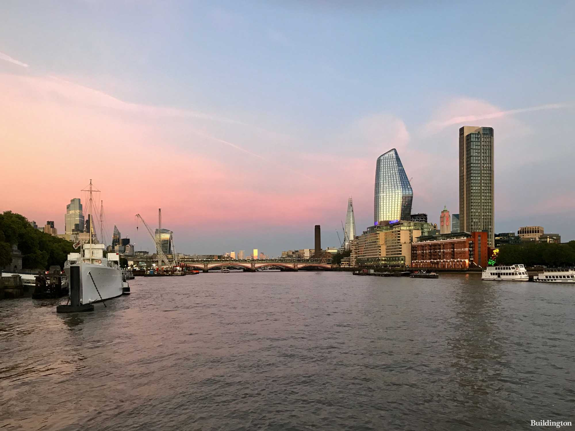 One Blackfriars from The Yacht on the River Thames.