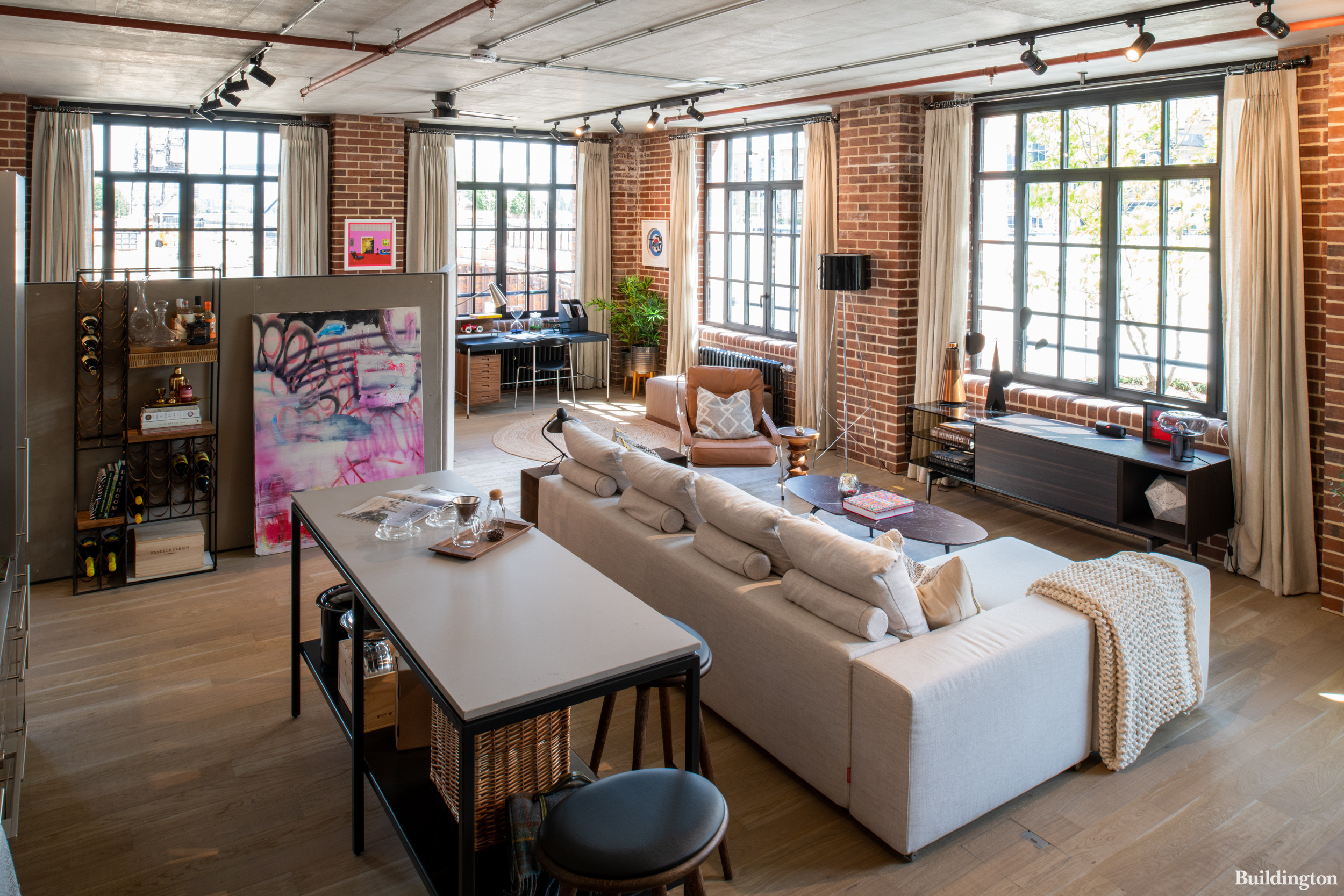 Interior at 8 Harbord Square. The collection of Manhattan loft style homes are completely open-plan with no physical rooms or internal walls.