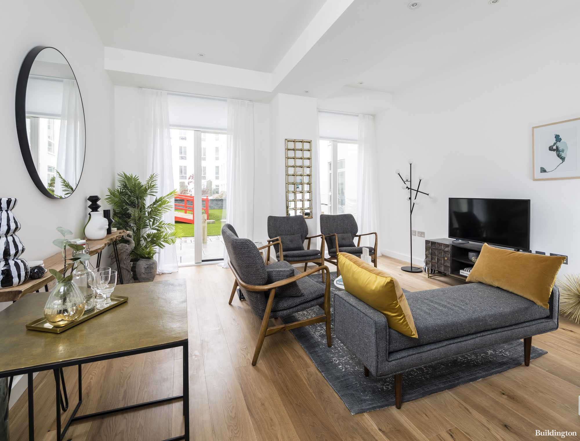 Living room area in the show apartment at Islington Square development in 2021.