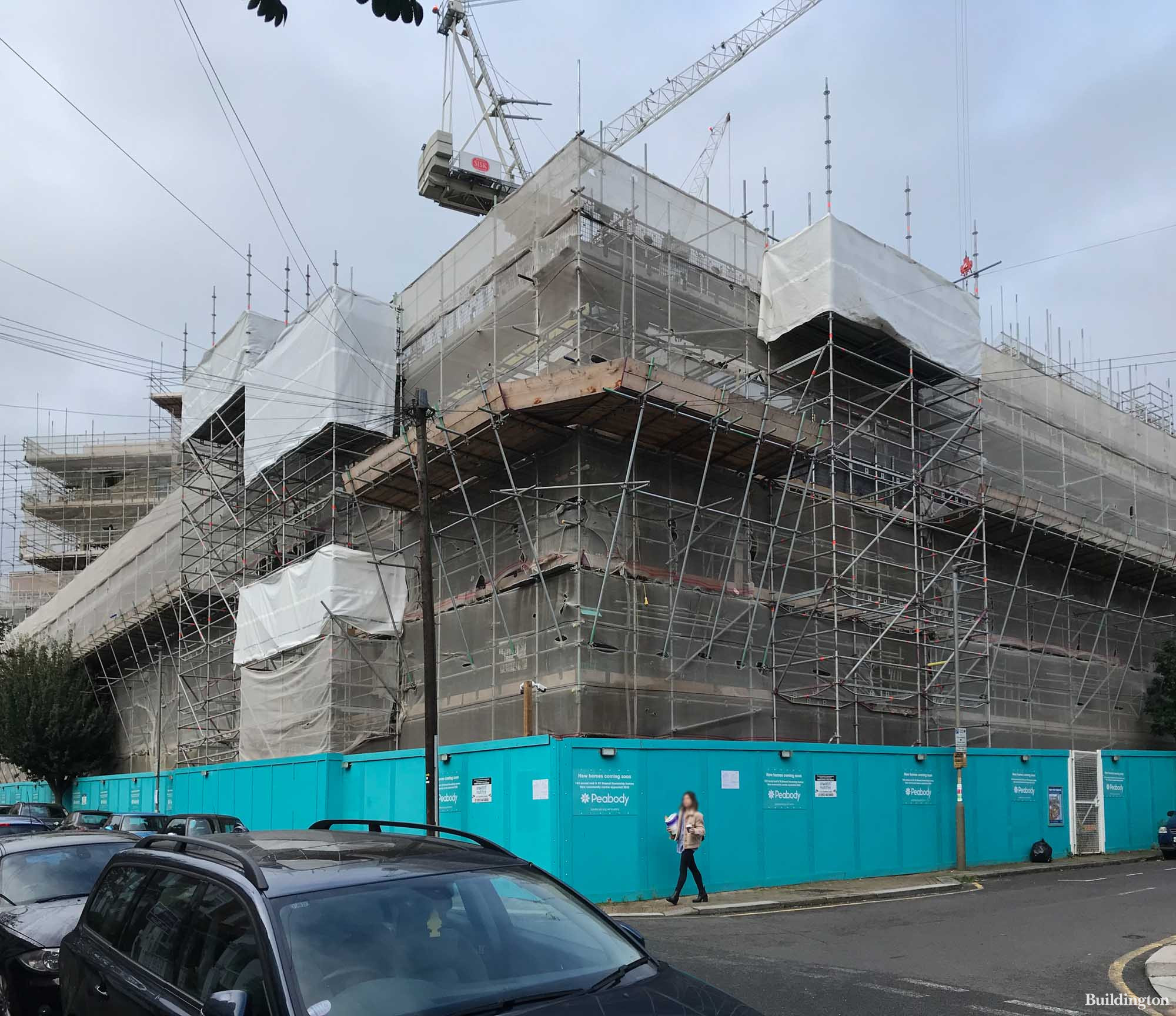 John Sisk & Son on site at St John's Way regeneration on the corner of Comyn and Eckstein Road in Clapham, London SW11.