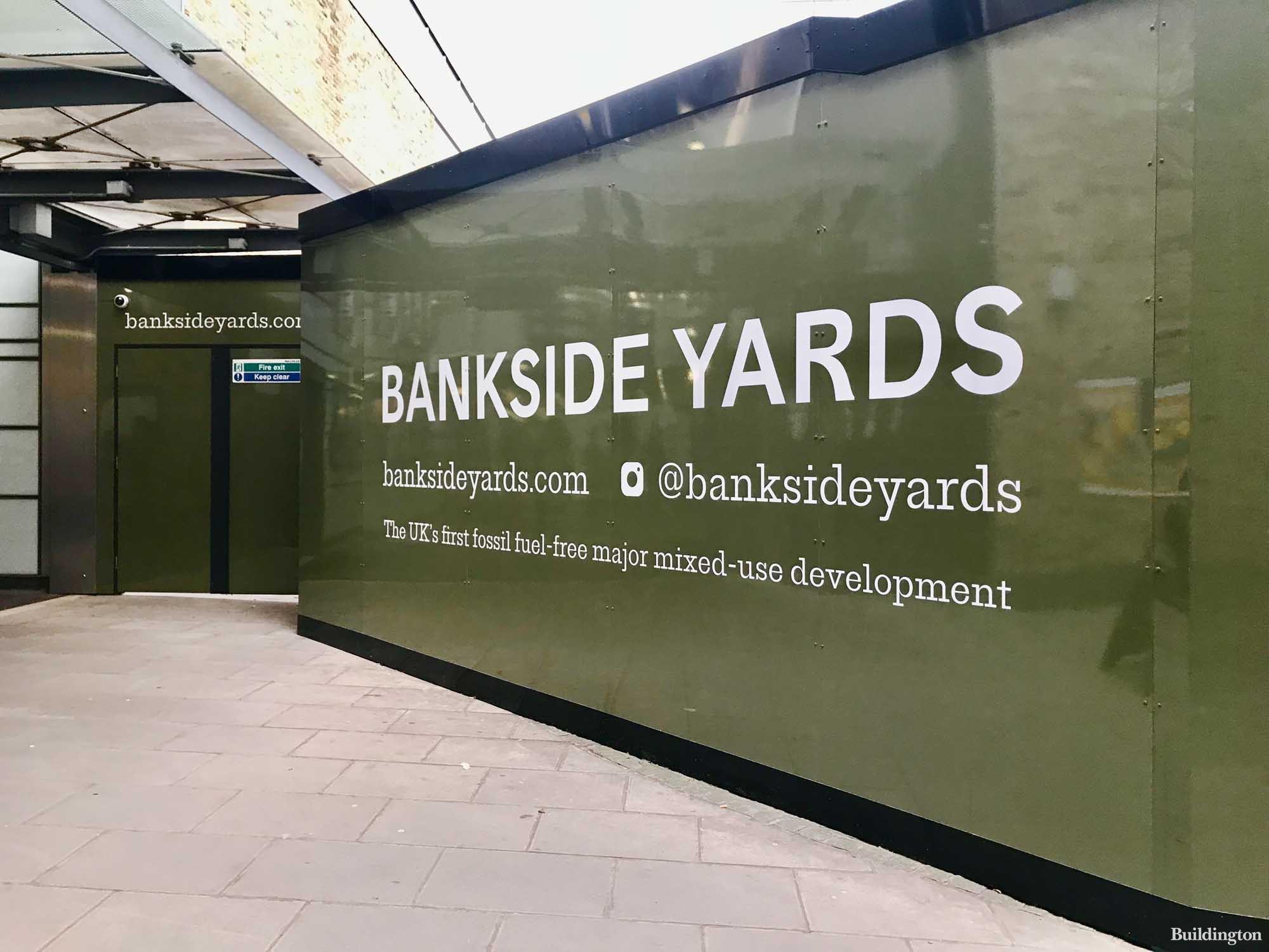 Bankside Yards hoarding in front of Blackfriars station south side.