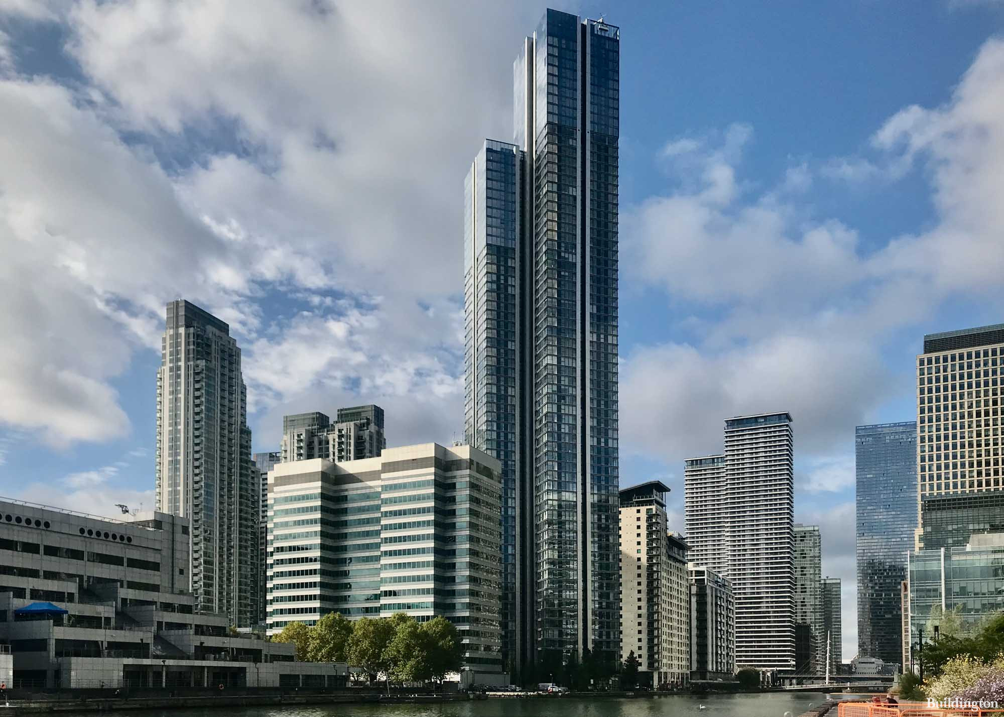 View to South Quay Plaza from Wood Wharf in London E14.