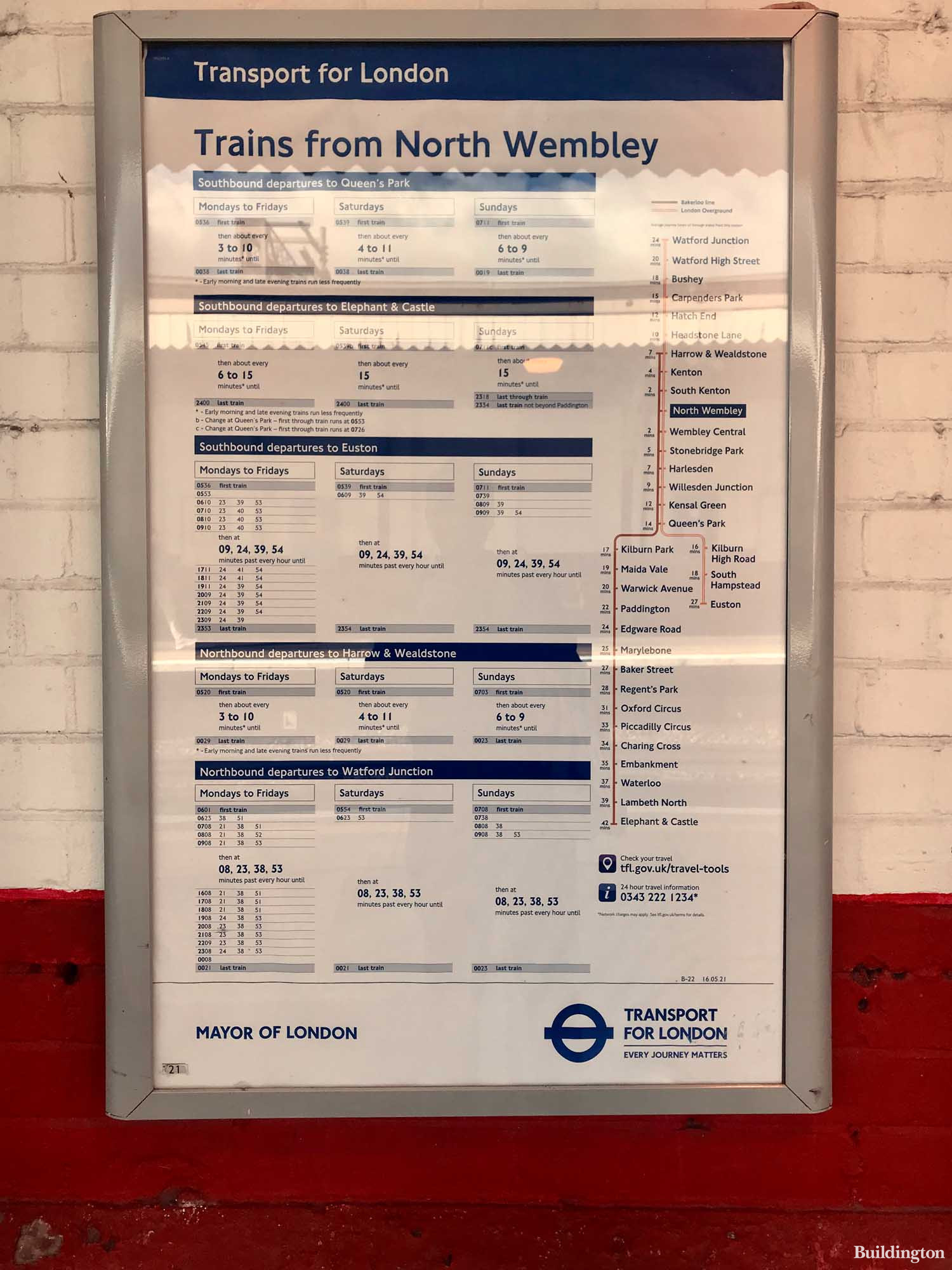 North Wembley Station Bakerloo line timetable and average journey times from the station.