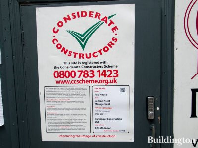 Asia House Considerate Constructors Scheme poster.