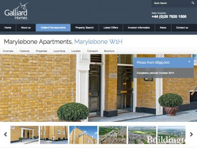Screen capture of Marylebone Apartments page on Galliard Homes website at www.galliardhomes.com