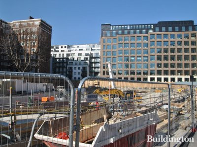 Abell House development site in March 2014. Burberry's new headwuarters at the back.