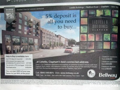 Listello Buildings development advertising in Homes & Property, Evening Standard (5. November 2014).