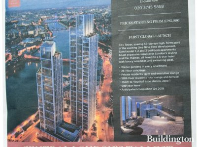 One Nine Elms development advertisement in Homes & Property, 15.10.2014.