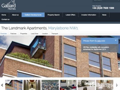 Screen capture of The Landmark Apartments website at www.galliardhomes.com