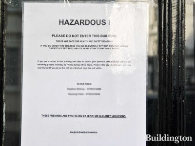 Hazardous! Please do not enter this building! Sign at 51 Gloucester Terrace door following the fire on the 27th of February 2013.