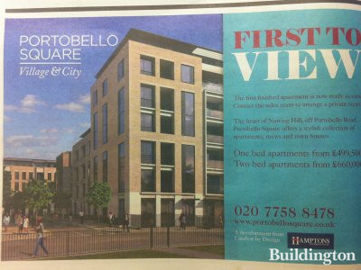 Advertisement for Portobello Square in Homes & Property section in Evening Standard 14. November 2012