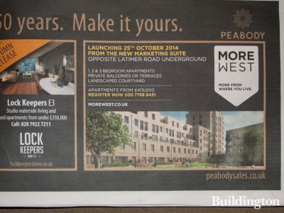 More West advertisement in Homes & Property, Evening Standard, 8.10.2014